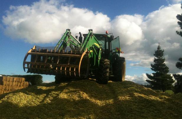 Flintoft Contractors silage stack tractor